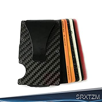 Men's Accessories Holder Coin Pocket Carbon Fiber Money Clip Slim Wallet Anti-chief RFID Blocking Clothing, Shoes & Accessories