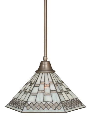 Toltec Lighting 26-BN-910 Stem Pendant Light Brushed Nickel Finish with Pewter Tiffany Glass, - Specials And Co Tiffany