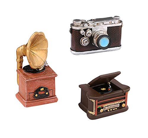 Dedoot Mini Resin Ornament Vintage, Set of 3 Pack Creative Retro Camera Phonograph and Record Player Model Ornament for Photo Props Home Decor Tabletop Decoration -