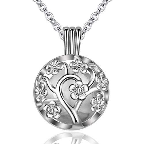 - EUDORA Harmony Bola Locket Necklace Pregnancy, Flower of Life Pendant Cherry Blossoms Necklace with The Music Chime Bell Women Jewellery, Romantic Gift for Women 30