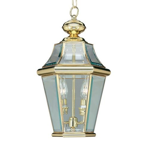 Livex Lighting 2265-91 Georgetown 2 Light Outdoor Chain Lantern, Brushed Nickel