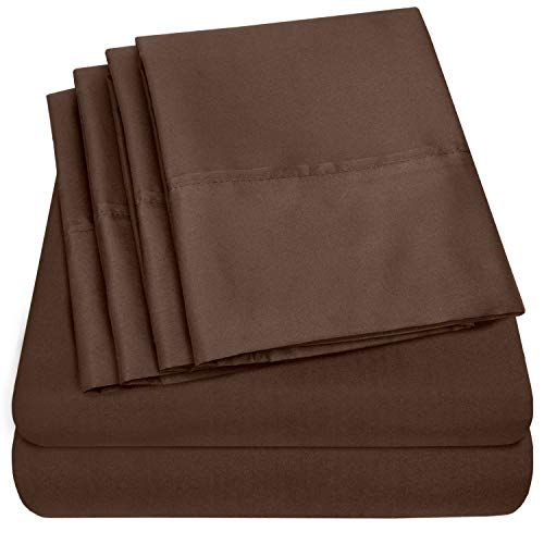 (6 Piece 1500 Thread Count  Deep Pocket Bed Sheet Set - 2 EXTRA PILLOW CASES, GREAT VALUE - Queen, Brown )