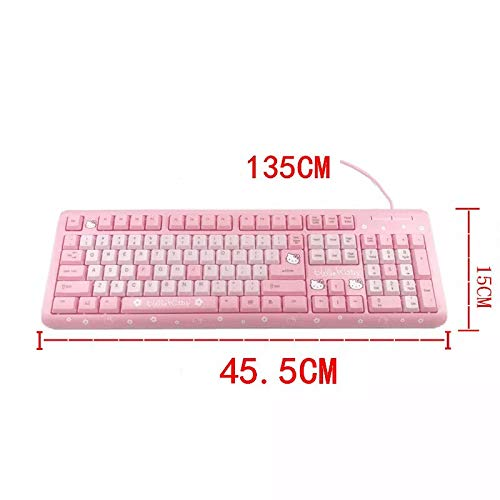 Free Gift:Mouse Pad Taide Wired USB Keyboard with Wireless Mouse,Hello Kitty Keyboard 104 Key Standard Windows Works with Windows 95//98//2000//ME//NT//XP Color 2