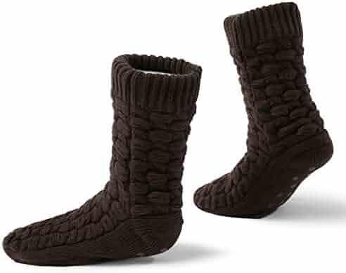 f822412773b8 MaaMgic Mens Christmas Fuzzy Slipper Sock Ladies Warm Funny Knit Socks With  Grips 181307102
