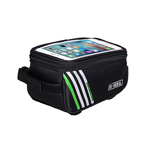 """Waterproof Cycling Pack Bicycle Top Tube Frame Bag with 5.7"""" Touch Screen for iPhone6/6S, iPhone7/7 Plus Samsung Cell Phones"""
