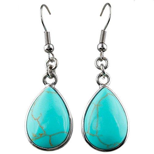 SUNYIK Green Howlite Turquoise Teardrop Dangle Earrings with Fishhook
