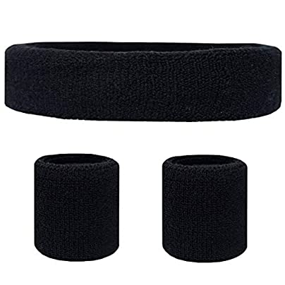 Sunonip Sports Headband And Wristband Vertical Used Gym Running Solid Color Sweatband Set Headband And Wristbands Estimated Price £8.29 -
