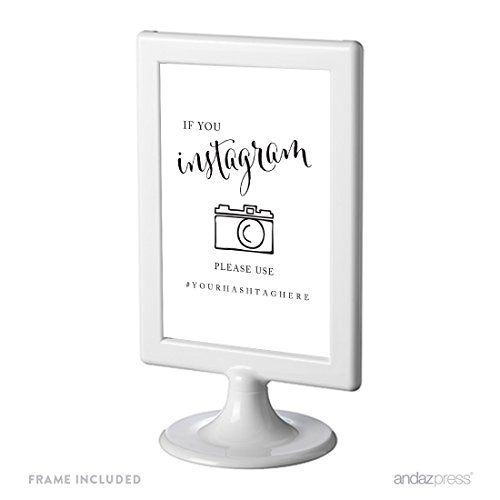 Personalized Black Face - Andaz Press Personalized Framed Wedding Party Signs, Black and White Modern Print, 4x6-inch, If You Instagram Please Use # Your Hashtag Here, 1-Pack, Custom For Tagging Facebook, Pinterest Photos