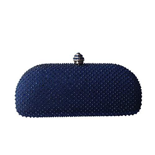 Navy Clutch Box Navy Purses Evening Bag Rhinestone Blue ULKpiaoliang Crystal Bags BqxOBH