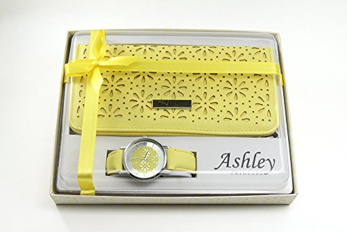 Set Yellow Pocket Watch (Beautiful Women's Floral Design Wallet and Matching Floral Dial Watch Gift Set - ST10099 Yellow)