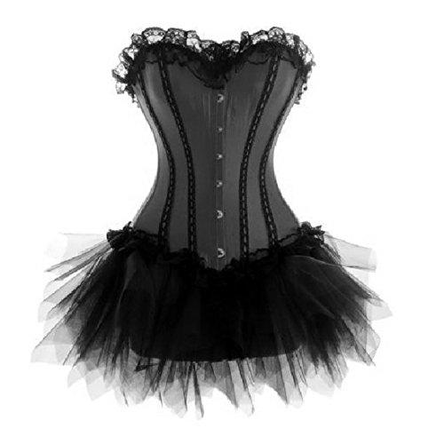 036black+7008b Wedding Lace up Boned Trim Corset Tutu/skirt Fancy Dress Outfit Party Costume (Uk(14-16) 2xl, (Fancy Dress Uk)