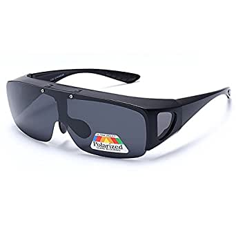 Polarized Night Vision Goggles Fit Over Prescription Glasses Wrap Arounds Sunglasses with Side Shield for Driving Protection Outdoor Mirror Lens