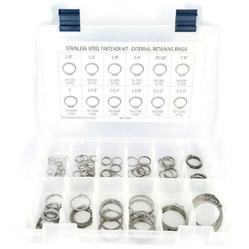 Stainless Steel External Snap Ring Kit 126 Piece Kit