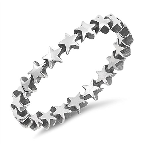 Thin Star Antiqued Midi Eternity Stackable Ring Sterling Silver Band Size 4