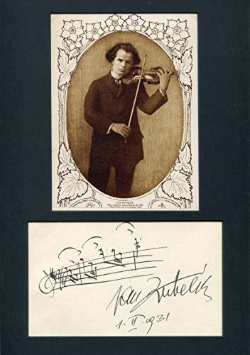 VIOLINIST Jan Kubelik autograph musical quotation signed & mounted