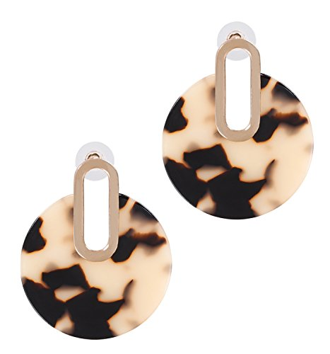 Acrylic Earrings For Women Girls Statement Drop Dangle Earrings Bohemian Hoop Earring Mottled Resin Stud Earrings Fashion Jewelry