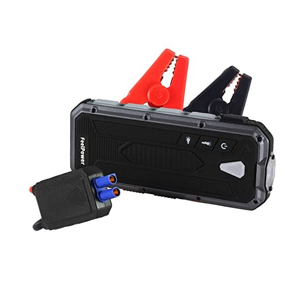 Car Jump Starter, RYX 400A Peak Portable (up To 3.0L Gas Or 2.5L Diesel Engine) Auto Battery Booster Power Pack Phone Power Bank With Smart Ports Car Safety Hammer LED Flashlight & Smart Protection