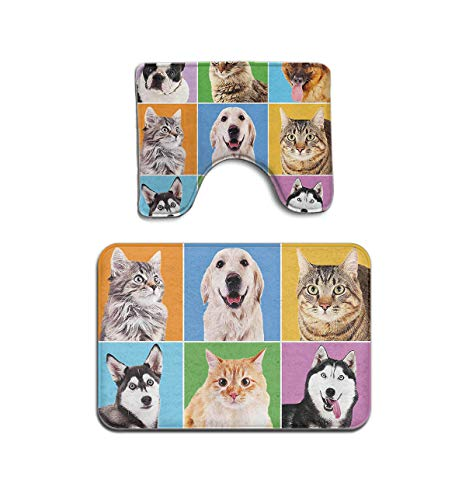 2 Toilet Piece Portrait (Beach Surfer Animal Cute Various Dogs Cats Portraits 2 Piece Bathroom Mat Non Slip Bath Mat Bath Rug Set Contour Rug Doormat)