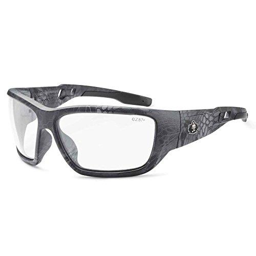 Ergodyne Skullerz Baldr Safety Glasses-Kryptek Typhon Black Camo Frame, Clear Lens (Goggle Clear Lens Frame Black)