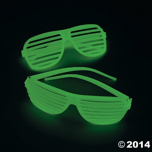 Fun Express Plastic Glow-in-The-Dark Shutter Shading Glasses, One Dozen