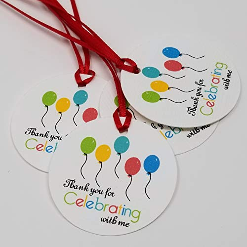 Balloons Favor Tags - Baby Shower Tags - Rainbow Colors Tags - Thank you for Celebrating with me - Set of 40 tags