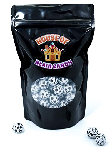 Chocolate Soccer Balls (Foil Covered) - 1LB Bulk Chocolate (Approx. 75 pieces) - Comes In A Sealed / Resealable Bag - Perfect For Parties, Pinata, Office Bowl, Wedding Favors, Easter Baskets ()