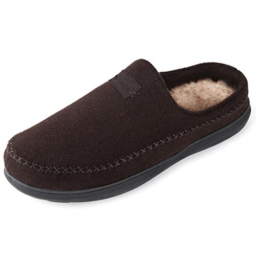 Zigzagger Men's Suede Moccasin Slippers Memory Foam Slip On Clog House Shoes Indoor Outdoor, Dark Coffee, 13-14 D(M) US ()