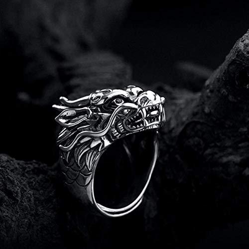 925 Sterling Silver Dragon Head Ring For Men, Red Cubic Zirconia Eyes, Dragon Ring Handmade, Vintage Biker Ring, Punk Style, Men Handmade Ring, Thumb Ring For Men