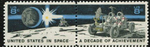 A DECADE OF ACHIEVEMENT IN SPACE ~ THE EAGLE MOON LANDING CRAFT & THE LUNAR ROVER #1435b Attached Pair (se-tenant of 2 stamps) 8¢ US Postage Stamps