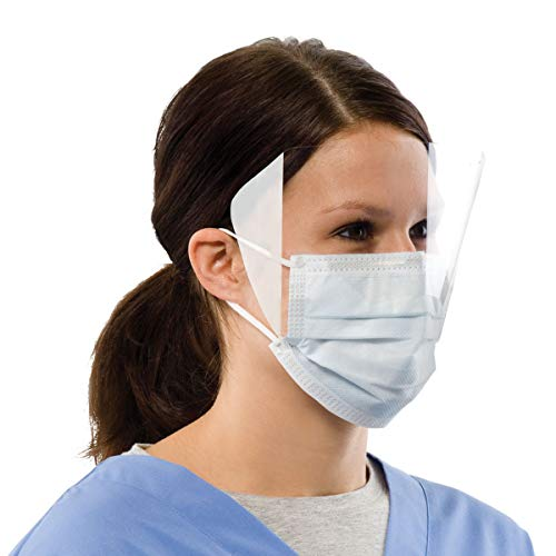 50 Piece Face Shields, Clear Wraparound Visor Eye Protectors with Sided Tape