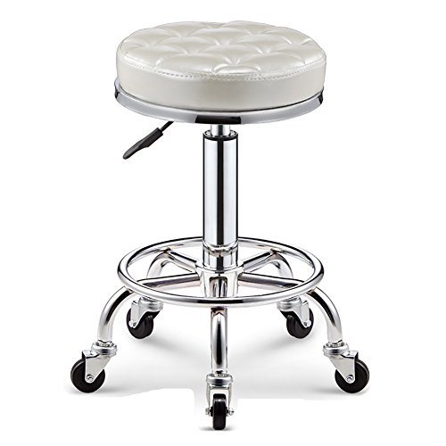 (PeaceipUS with Wheels Bar Kitchen Breakfast Stools,Rollable 360 Degree Rotation,PU Leather&Stainless Steel,Safe and Stable (Color : Bright White, Size : 35cm))