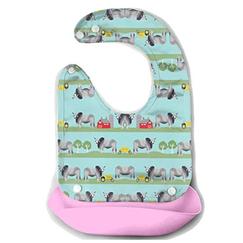 ROCKSKY Silicone Bib Drooling Bibs Waterproof Baby Bandana Bibs, Brahman Cattle Fabric Farm Ranch Design Food Catcher Pocket Bib Cute Baby Boys and Girls Gift 6-24 Months