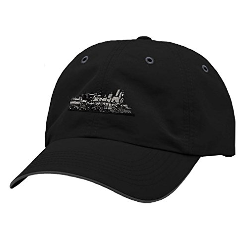 Train Style Hat - Speedy Pros Train Style 4-6-0 Embroidery Design Richardson Polyester Water Repellent Cap Black/Charcoal