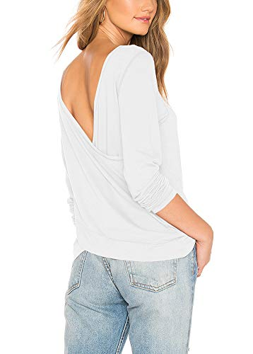 Bestisun Womens V Neck Henley Shirts Long Sleeve Ribbed Button Down Basic Tops Tees Unique Fashionable Blouses Comfortable Relaxed Tunic White XL