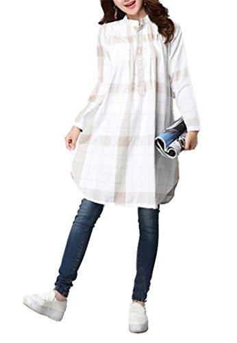 暖かさダイアクリティカルスロープ【ノーブランド品】レディース ロングシャツ シャツワンピース チェック柄 森ガール ゆったり ホワイト ネイビー カーキ サイズM~XL