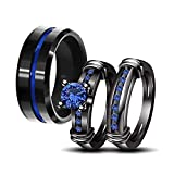 LOVERSRING Couple Ring Bridal Set His Hers Women Black Gold Plated Blue Agate Men Stainless Steel Wedding Ring