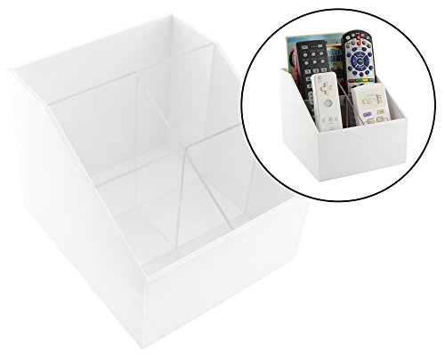 Vanity Hall Bathroom Furniture (Remote Control Organizer in White Acrylic; TV Organizer, Desktop Organizer or Vanity Caddy)