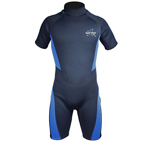 (NATYFLY Wetsuit Men 3mm Neoprene Shorty Surfing Wetsuits for Women(Blue,M))