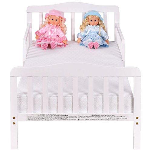 White Wood Children Toddler Baby Bed Kids Bedroom Furniture with Safety Rails + eBook