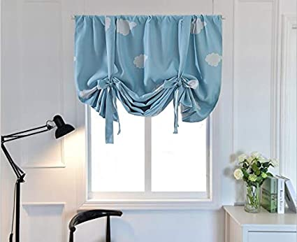 Amazoncom Blue Tie Up Curtains For Small Window Print Blackout