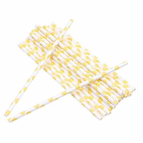 ISKYBOB 100 Pack Fruit Patterned Drinking Paper Straws Disposable Biodegradable,7.48'' Long (Lemon)