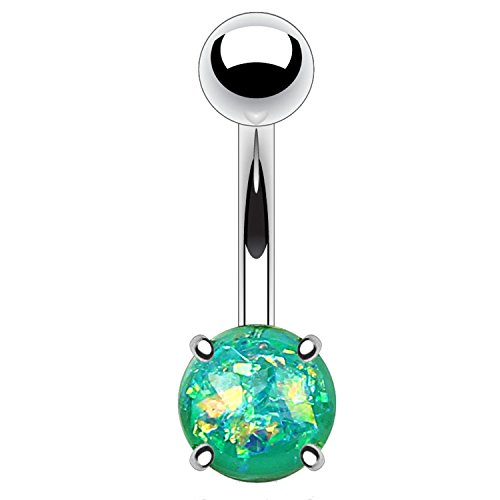 BodyJ4You Belly Button Ring Teal Created-Opal Stone 14G Navel Barbell Banana Bar Steel Jewelry