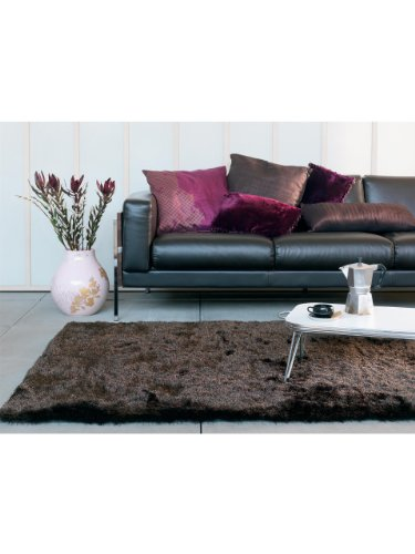 Benuta Whisper Shaggy Hochflor-Teppich | Langflor-Teppich in Dunkelbraun für Schlafzimmer und Wohnzimmer | 160x230 cm