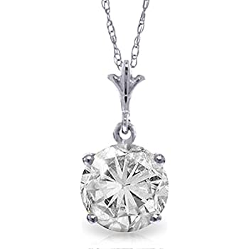 ALARRI 2.38 Carat 14K Solid Gold Necklace Cubic Zirconia with 24 Inch Chain Length