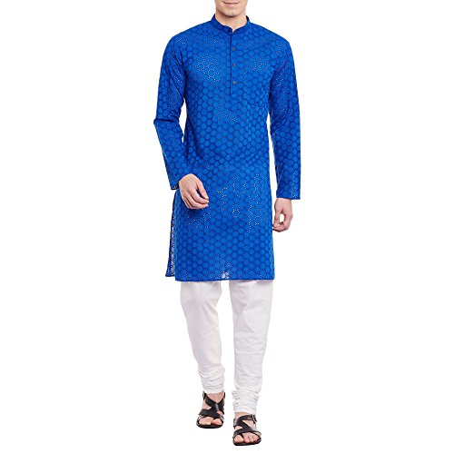 Mens Embroidered Cutwork Cotton Kurta With Churidar Pajama Trousers Machine Embroidery,Blue Chest Size: 46 Inch by ShalinIndia (Image #6)