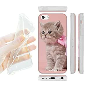 Head Case Designs Kitten with Pink Bow Cats Soft Gel Back Case Cover for Apple iPhone 5c