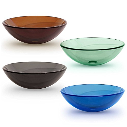 Sink Bowl Vessel Vanity - Tempered Glass Vessel Bathroom Vanity Sink Round Bowl, Light to Medium Green Color