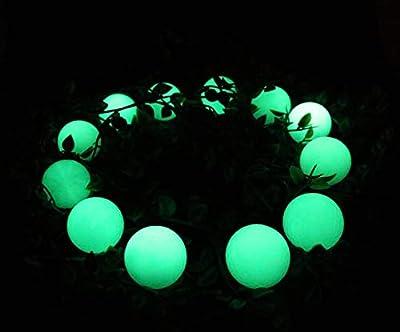 QBOSO Luminous Night Golf Balls- Long Lasting Fluorescent Golf Balls Ultra Bright Glow in The Dark Golf Ball Rechargeable by Sunlight or Flashlight 12 Pack