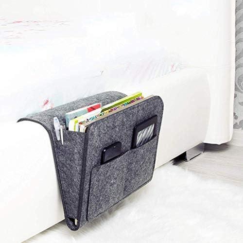 Vinkl Nachttisch-Halterung für iPad/Schlafsaal, Hochbett, Krankenhausbett, Kinder-Babybett, Aufbewahrungsbox zum Aufhängen, Fernbedienung, groß, 31,8 x 20,6 cm, Dunkelgrau