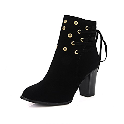 AllhqFashion Womens Solid High Heels Round Closed Toe Imitated Suede Lace-Up Boots Black Ue1ACEp
